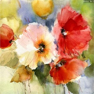 "Anna Razumovskaya Hand Signed and Numbered Limited Edition Artist Embellished Canvas Giclee: ""SUMMER FLOWERS 3"""