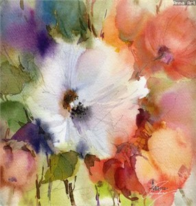 "Anna Razumovskaya Hand Signed and Numbered Limited Edition Artist Embellished Canvas Giclee: ""SUMMER FLOWERS 9"""