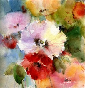 """Anna Razumovskaya Hand Signed and Numbered Limited Edition Artist Embellished Canvas Giclee: """"SUMMER FLOWERS 2"""""""
