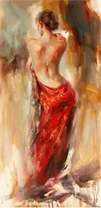 "Anna Razumovskaya Hand Signed and Numbered Limited Edition Artist Embellished Canvas Giclee: ""Aurora in Red"""