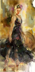 "Anna Razumovskaya Hand Signed and Numbered Limited Edition Artist Embellished Canvas Giclee: ""Copelia"""