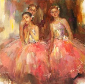 "Anna Razumovskaya Hand Signed and Numbered Limited Edition Artist Embellished Canvas Giclee: ""Admiration"""