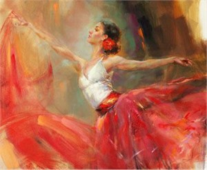 "Anna Razumovskaya Hand Signed and Numbered Limited Edition Artist Embellished Canvas Giclee: ""Carmen"""