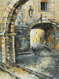 """Lucy Liasheva Hand Signed and Numbered Limited Edition Artist Embellished Canvas Giclee: """"Italy. Old Street. Rome"""""""