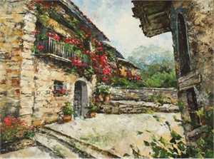 "Lucy Liasheva Hand Signed and Numbered Limited Edition Artist Embellished Canvas Giclee: ""Spain. Old Village"""