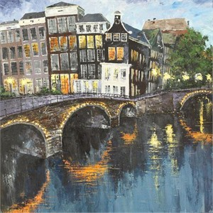 "Lucy Liasheva Hand Signed and Numbered Limited Edition Artist Embellished Canvas Giclee: ""Holland. Amsterdam"""
