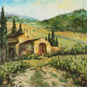 "Lucy Liasheva Hand Signed and Numbered Limited Edition Artist Embellished Canvas Giclee: ""Italy. Tuscany"""