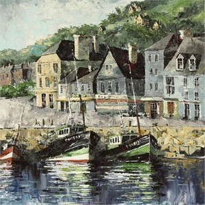 "Lucy Liasheva Hand Signed and Numbered Limited Edition Artist Embellished Canvas Giclee: ""France. Port Honfleur"""