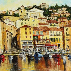 "Lucy Liasheva Hand Signed and Numbered Limited Edition Artist Embellished Canvas Giclee: ""France. The Riviera"""