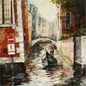"Lucy Liasheva Hand Signed and Numbered Limited Edition Artist Embellished Canvas Giclee: ""Venice"""