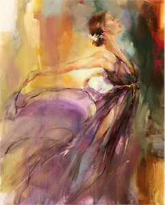 "Anna Razumovskaya Hand Signed and Numbered Limited Edition Artist Embellished Canvas Giclee: ""Aphrodite"""