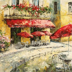"Lucy Liasheva Hand Signed and Numbered Limited Edition Artist Embellished Canvas Giclee: ""Provence. Country Town. Early Morning"""