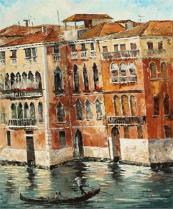 """Lucy Liasheva Hand Signed and Numbered Limited Edition Artist Embellished Canvas Giclee: """"Italy. Venice"""""""
