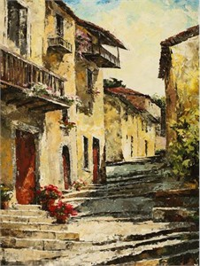 "Lucy Liasheva Hand Signed and Numbered Limited Edition Artist Embellished Canvas Giclee: ""Spain. Small Village"""