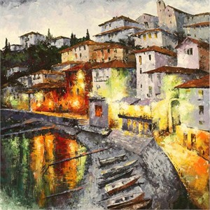 """Lucy Liasheva Hand Signed and Numbered Limited Edition Artist Embellished Canvas Giclee: """"Italy. Lake Como"""""""