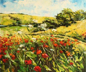 """Lucy Liasheva Hand Signed and Numbered Limited Edition Artist Embellished Canvas Giclee: """"Poppies Field"""""""