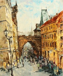 "Lucy Liasheva Hand Signed and Numbered Limited Edition Artist Embellished Canvas Giclee: ""Prague. Spring"""