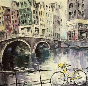 """Lucy Liasheva Hand Signed and Numbered Limited Edition Artist Embellished Canvas Giclee: """"Holland. Amsterdam"""""""