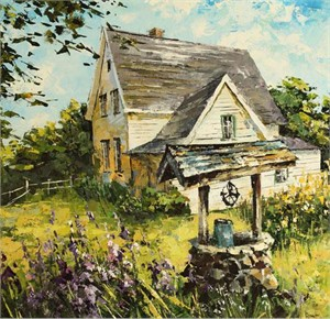 "Lucy Liasheva Hand Signed and Numbered Limited Edition Artist Embellished Canvas Giclee: ""Old Farm. King City"""