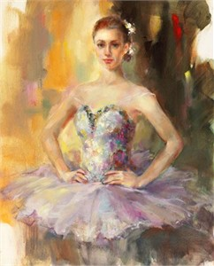 "Anna Razumovskaya Hand Signed and Numbered Limited Edition Artist Embellished Canvas Giclee: ""Curtain Call"""