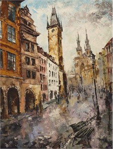 "Lucy Liasheva Hand Signed and Numbered Limited Edition Artist Embellished Canvas Giclee: ""Prague. After the Rain"""