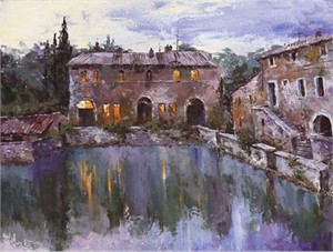 "Lucy Liasheva Hand Signed and Numbered Limited Edition Artist Embellished Canvas Giclee: ""Tuscany. Old Villa"""