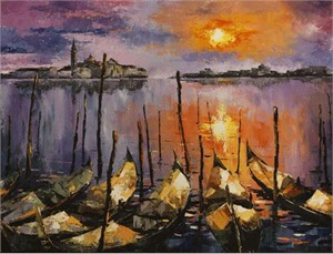 "Lucy Liasheva Hand Signed and Numbered Limited Edition Artist Embellished Canvas Giclee: ""Venice. Sunset"""