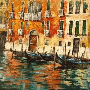 "Lucy Liasheva Hand Signed and Numbered Limited Edition Artist Embellished Canvas Giclee: ""Venice. Italy."""