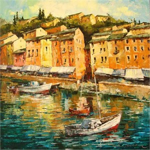 "Lucy Liasheva Hand Signed and Numbered Limited Edition Artist Embellished Canvas Giclee: ""Italy. Portofino."""