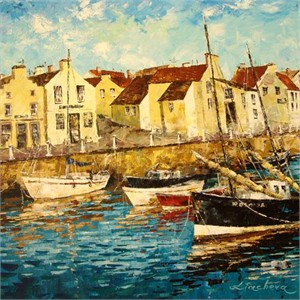 "Lucy Liasheva Hand Signed and Numbered Limited Edition Artist Embellished Canvas Giclee: ""Scotland. Morning."""