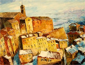 "Lucy Liasheva Hand Signed and Numbered Limited Edition Artist Embellished Canvas Giclee: ""Italy. Winter. Verona."""