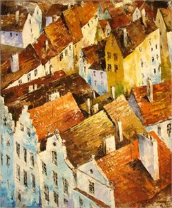 """Lucy Liasheva Hand Signed and Numbered Limited Edition Artist Embellished Canvas Giclee: """"Prague."""""""