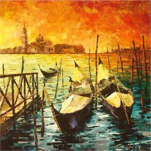 "Lucy Liasheva Hand Signed and Numbered Limited Edition Artist Embellished Canvas Giclee: ""Italy. Venice."""