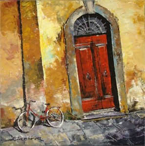"Lucy Liasheva Hand Signed and Numbered Limited Edition Artist Embellished Canvas Giclee: ""Italy. Tuscany. Florence. Old Door"""