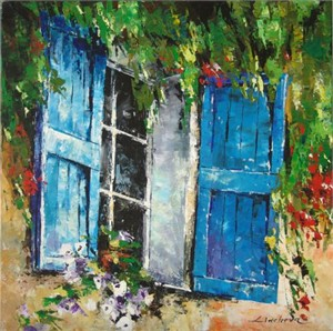 """Lucy Liasheva Hand Signed and Numbered Limited Edition Artist Embellished Canvas Giclee: """"Blue Window"""""""