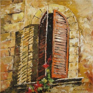 "Lucy Liasheva Hand Signed and Numbered Limited Edition Artist Embellished Canvas Giclee: ""Orange Window"""