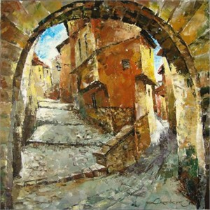 "Lucy Liasheva Hand Signed and Numbered Limited Edition Artist Embellished Canvas Giclee: ""Spain. Old City"""