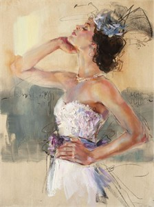 "Anna Razumovskaya Hand Signed and Numbered Limited Edition Artist Embellished Canvas Giclee:""Sunflower"""