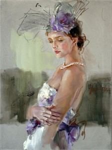 "Anna Razumovskaya Hand Signed and Numbered Limited Edition Artist Embellished Canvas Giclee:""Purple Elegance 1"""