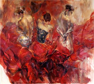"""Anna Razumovskaya Hand Signed and Numbered Limited Edition Artist Embellished Canvas Giclee: """"Past. Present. Future 1"""""""