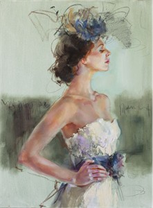 "Anna Razumovskaya Hand Signed and Numbered Limited Edition Artist Embellished Canvas Giclee:""Purple Elegance 2"""