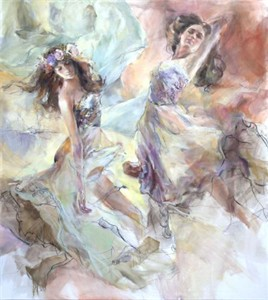 "Anna Razumovskaya Hand Signed and Numbered Limited Edition Artist Embellished Canvas Giclee:""Skyfall 2"""