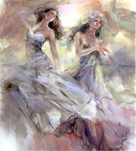 "Anna Razumovskaya Hand Signed and Numbered Limited Edition Artist Embellished Canvas Giclee:""Skyfall 1"""