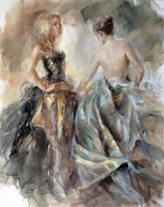 "Anna Razumovskaya Hand Signed and Numbered Limited Edition Artist Embellished Canvas Giclee:""New Moon"""