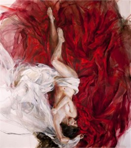 """Anna Razumovskaya Hand Signed and Numbered Limited Edition Artist Embellished Canvas Giclee:""""Falling in Love"""""""