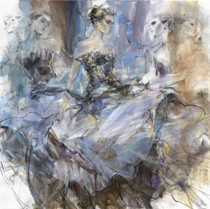 "Anna Razumovskaya Hand Signed and Numbered Limited Edition Artist Embellished Canvas Giclee:""Euphoria"""