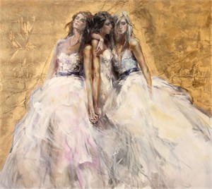 "Anna Razumovskaya HAnd Signed and Numbered Limited Edition Embellished Canvas Giclee:""Bond"""