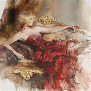 "Anna Razumovskaya Hand Signed and Numbered Limited Edition Artist Embellished Canvas Giclee:""English Rose(RED)"""