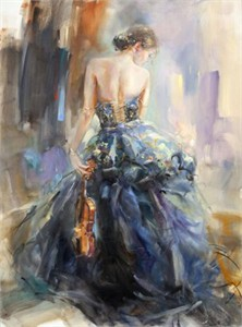 "Anna Razumovskaya Hand Signed and Numbered Limited Edition Artist Embellished Canvas Giclee:""Love Story 3"""