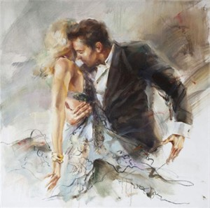 "Anna Razumovskaya Hand Signed and Numbered Limited Edition Artist Embellished Canvas Giclee:""Proximity (Sepia 1)"""